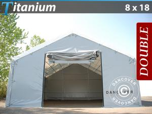 Lagerzelt Titanium 8x18x3x5m, Weiß / Grau