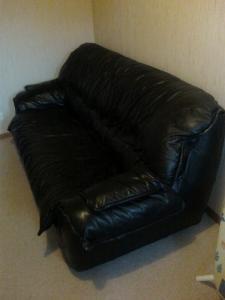 Canapé + fauteuil cuir noir