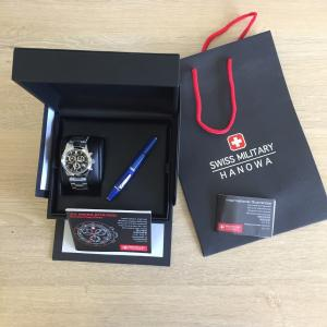 Coffret Montre Swiss Military Hanowa Freedom Noir + Stylo