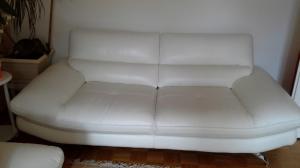 Canapé 2 places cuir blanc
