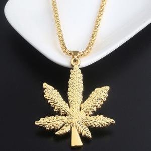 Collier unisexe avec feuille de chanvre plaqué or