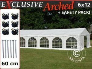 "Partyzelt Exclusive 6x12m PVC, ""Arched"", Weiß"