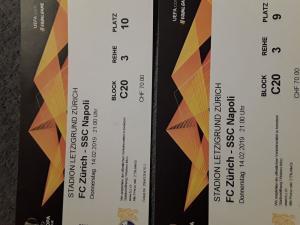2 Tribüne Tickets FC Zürich - SCC Napoli