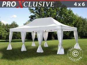 Faltzelt FleXtents PRO 4x6m Weiß, mit 8 Vorhänge