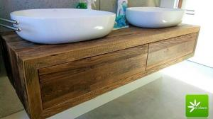 Meuble de salle de bain en vieux bois