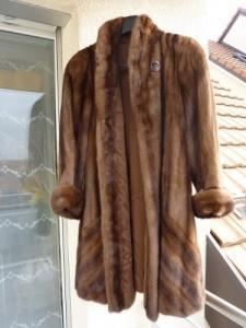 manteau 3/4 vison brun