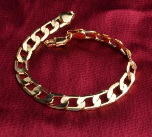 Bracelet-chaîne homme classe plaqué or 18 carats 20 cm