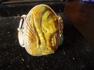 bracelet têtes indien aigle turquoise