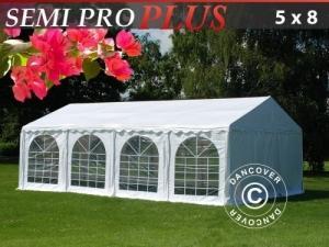 Partyzelt SEMI PRO Plus 5x8m PVC, Weiß