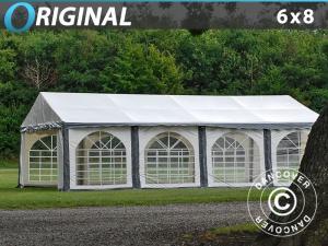 Partyzelt Original 6x8m PVC, Grau/Weiß