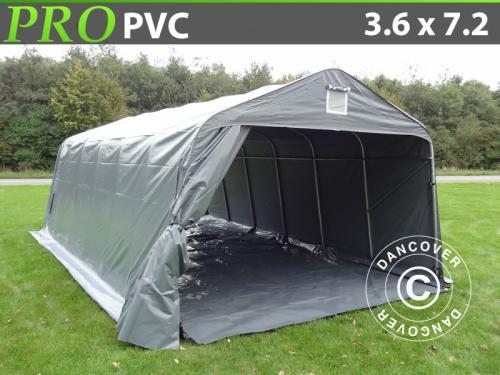Zeltgarage PRO 3,6x7,2x2,68m PVC, mit Bodenplane, Grau