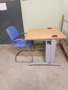 Bureau hêtre gris avec chaise (petit)