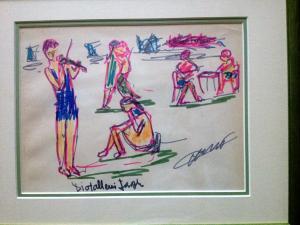Dessin au feutre,  aquarelle de J. Diotallevi Musiciens