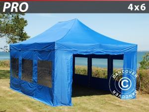 Faltzelt FleXtents PRO 4x6m Blau, mit 8 wänden