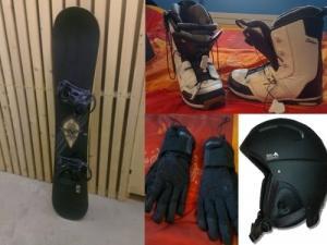 snowboard + boots + casque et gants