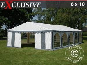 Partyzelt Exclusive 6x10m PVC, Grau/Weiß