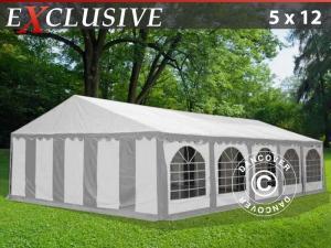 Partyzelt Exclusive 5x12m PVC, Grau/Weiß