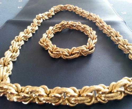Parure bracelet et collier en or