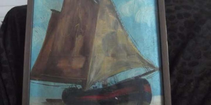 Rare huile s/toile recto-verso le voilier - la maison
