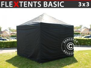 Faltzelt FleXtents Basic, 3x3m Schwarz, mit 4 wänden