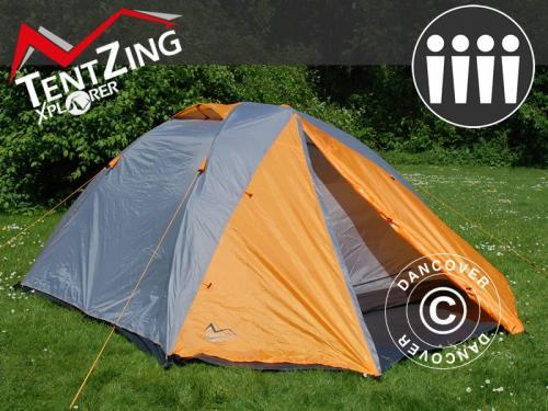 Campingzelt, TentZing® Xplorer, 4 Personen, Orange/Gra