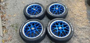 Jantes alu BBS bleu pour une POLO 6N2