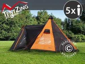 Campingzelt, TentZing® Teepee, 5 Personen, orange/dunk