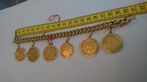 Bracelet en or jaune massif avec 6 pièce