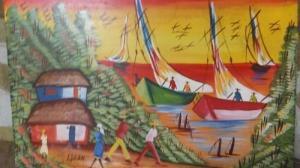 Tableau de peinture naïf sur toile