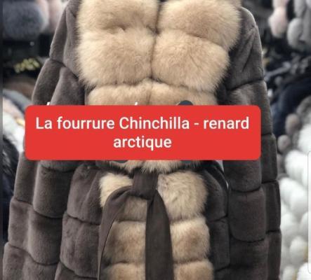 Veste fourrure Chinchilla - renard arctique M/L