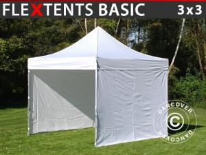 Faltzelt FleXtents Basic, 3x3m Weiß, mit 4 wänden