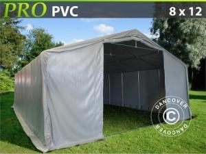 Lagerzelt Garagen PRO 8x12x4,4m PVC, Grau