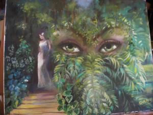 regard vert en forêt