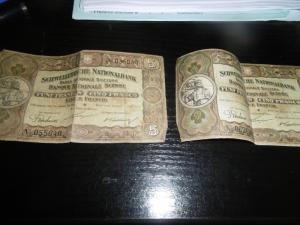 billets de 5 francs suisse