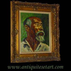 Huile sur toile, tableau, portrait orientaliste XXeme