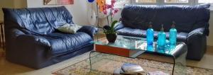 Canapé 2 et 3 place en cuir bleu