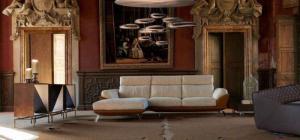Salon angle DUMAS 5 places cuir et tissu haut de gamme