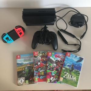 Nintendo Switch mit Zubehör und Spielen