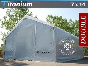 Lagerzelt Titanium 7x14x2,5x4,2m, Weiß / Grau